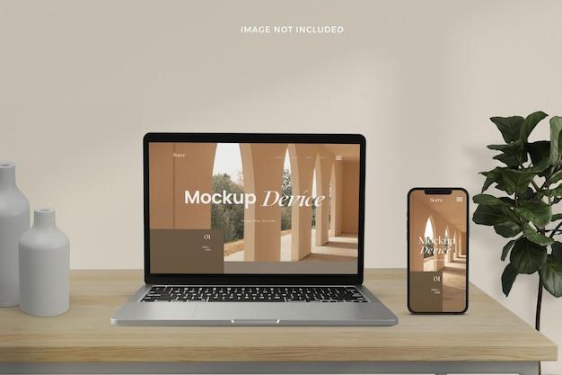 Maquete de telas de dispositivos responsivos realistas de vista frontal
