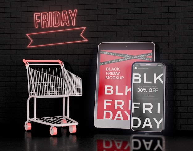 Maquete de telas de smartphone e tablet digital. conceito de black friday