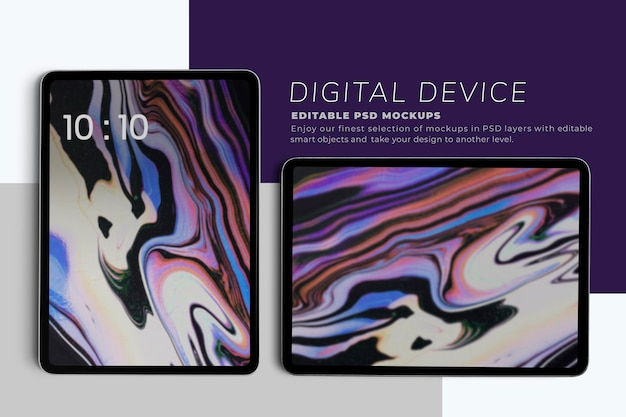Maquete de telas de tablet em vertical e horizontal