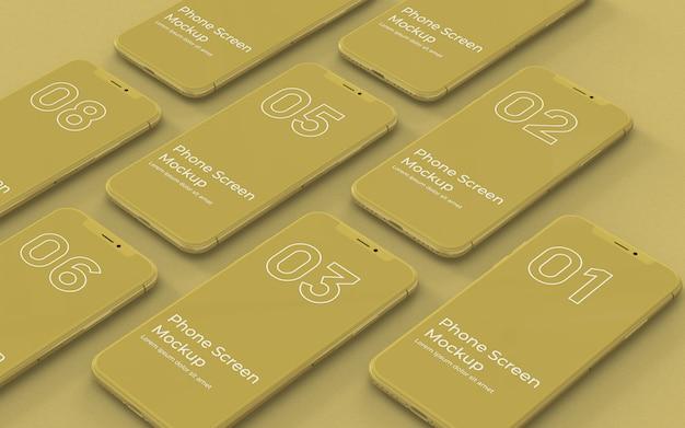 Maquete de telas de telefone amarelo vista esquerda