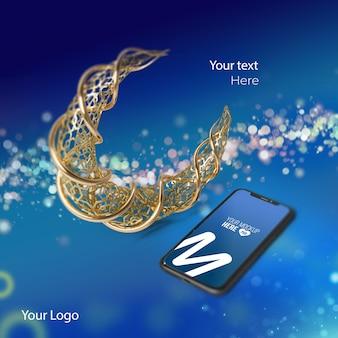 Maquete de telefone 3d ramadã