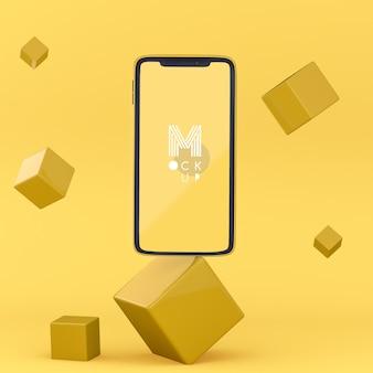 Maquete de telefone amarelo 3d pop