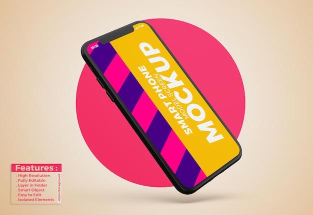 Maquete de telefone celular com design e cores editáveis