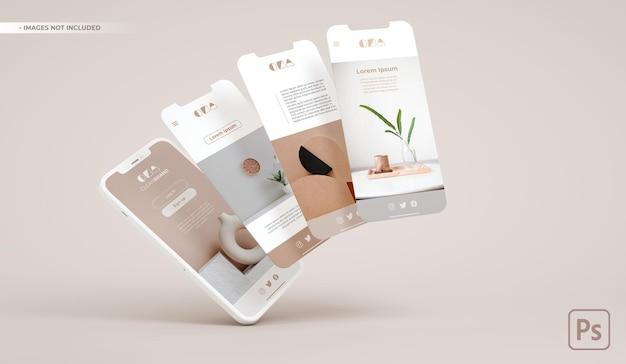 Maquete de telefone celular e slides flutuando em renderização 3d. desenvolvimento de interface de aplicativo