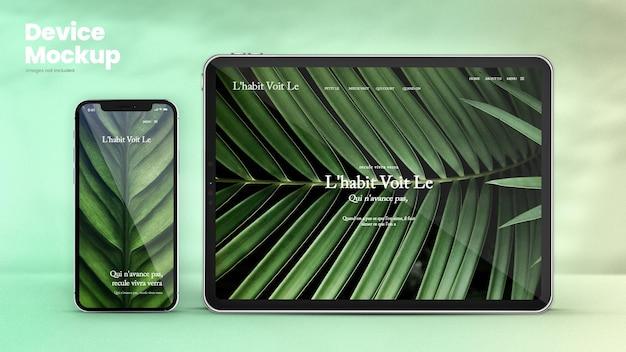 Maquete de telefone clássico e maquete de tablet