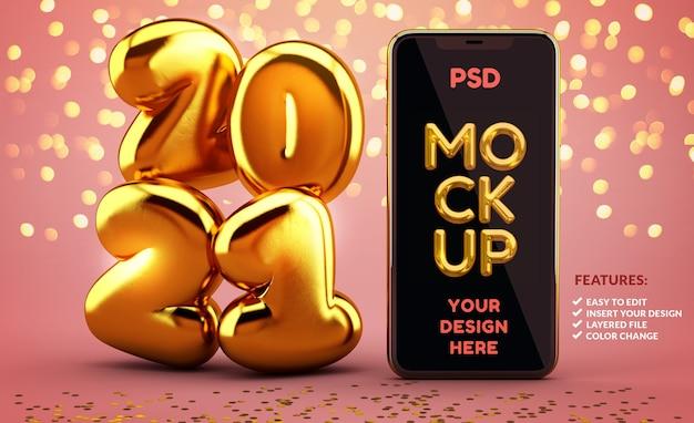 Maquete de telefone com 2021 números dourados