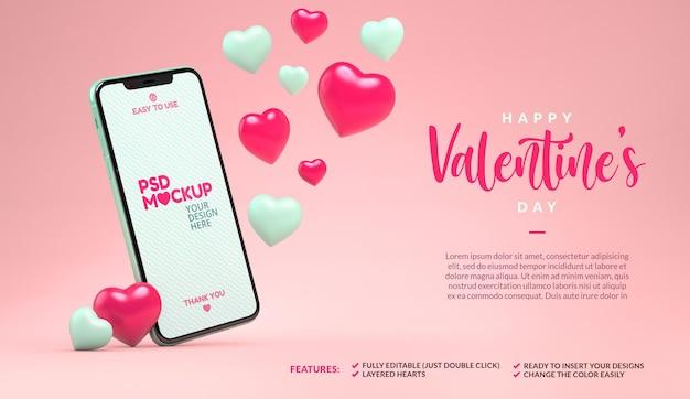 Maquete de telefone com corações flutuantes e copyspace. modelo de dia dos namorados em renderização 3d