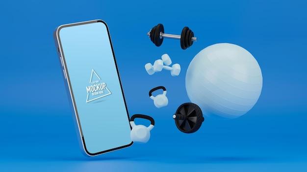 Maquete de telefone com equipamento esportivo em fundo azul ab roda halteres kettlebell bola de ioga