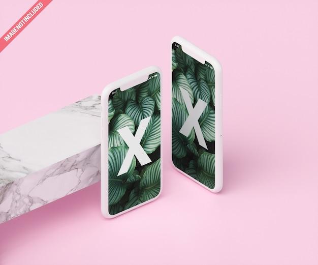 Maquete de telefone com mármore