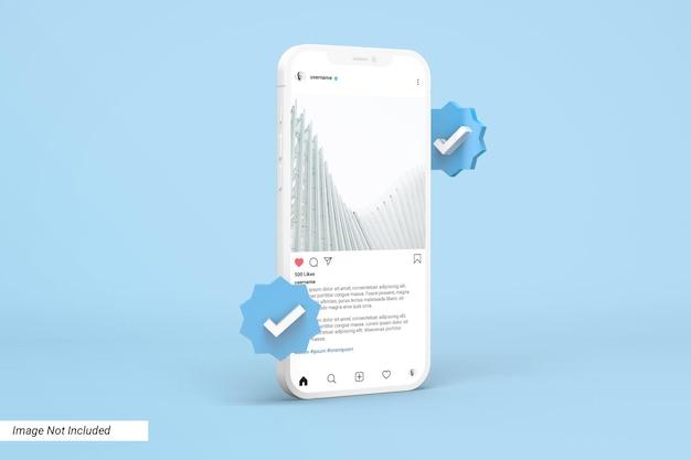 Maquete de telefone com modelo de postagem do instagram e ícone 3d verificado