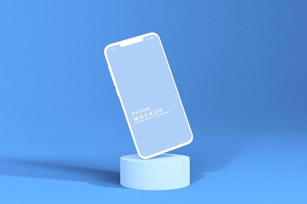 Maquete de telefone com renderização em 3d com pódio