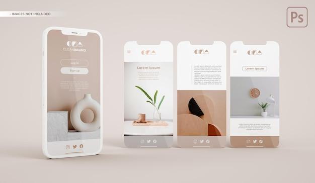 Maquete de telefone com três slides em renderização 3d. desenvolvimento de interface de aplicativo