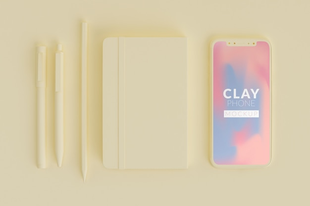 Maquete de telefone de barro