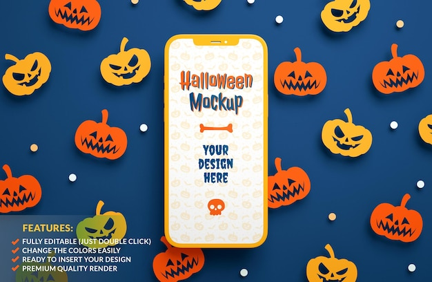 Maquete de telefone de halloween plana em um fundo de abóboras de papel em renderização 3d