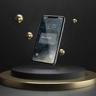 Maquete de telefone de levitação escura e cobre