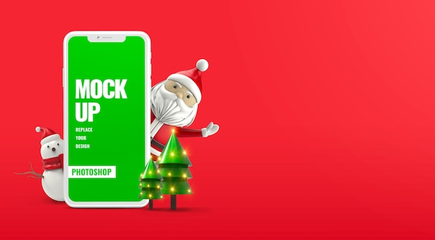 Maquete de telefone de natal de ano novo isolada