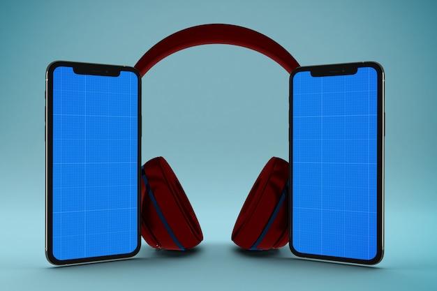 Maquete de telefone de tela com fones de ouvido