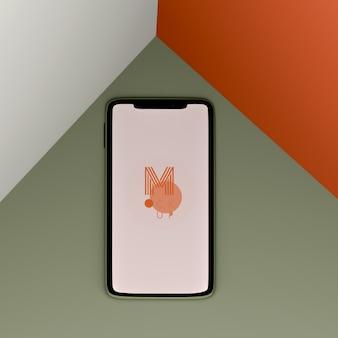 Maquete de telefone de três cores