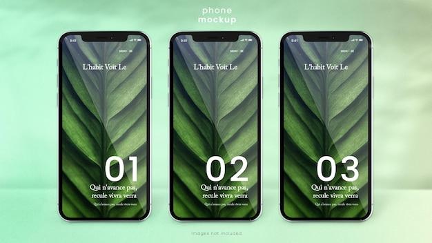 Maquete de telefone de três telas de smartphone
