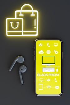 Maquete de telefone de vista superior com luzes de neon amarelas