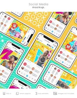 Maquete de telefone do instagram para mídia social
