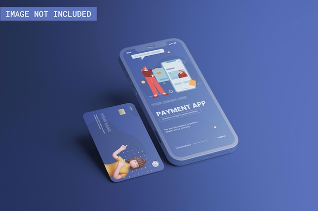 Maquete de telefone e cartão de crédito