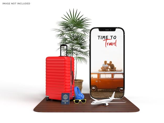 Maquete de telefone e mala com acessórios de avião de viajante