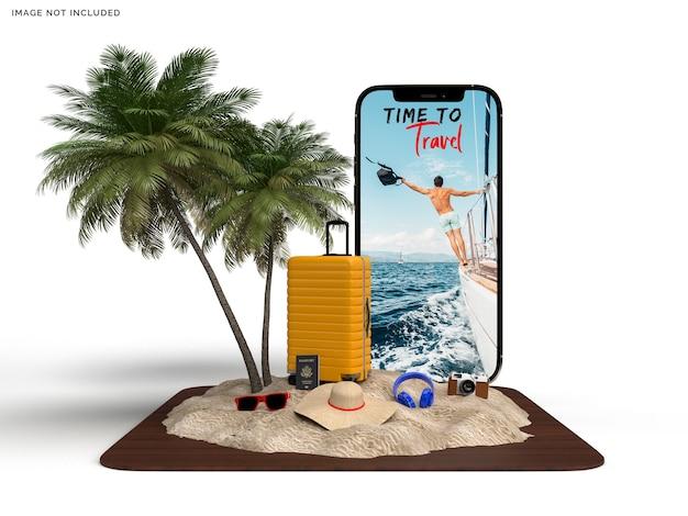 Maquete de telefone e mala com acessórios de viagem