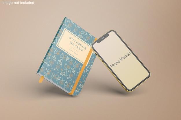 Maquete de telefone e notebook