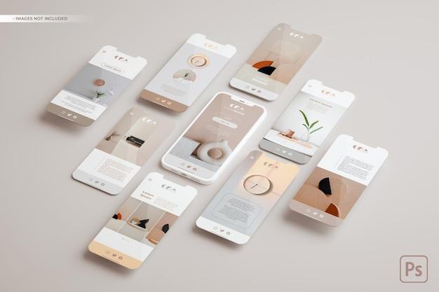 Maquete de telefone e vários slides flutuando em renderização 3d. conceito de aplicativo ui ux