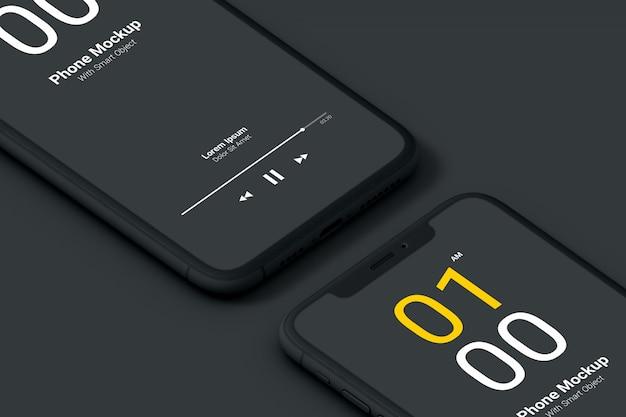 Maquete de telefone escuro close-up