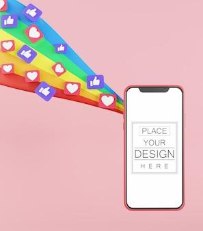 Maquete de telefone inteligente com tela em branco e ícones de mídia social e arco-íris