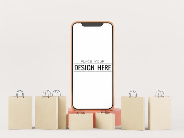 Maquete de telefone inteligente com tela em branco e sacolas de compras