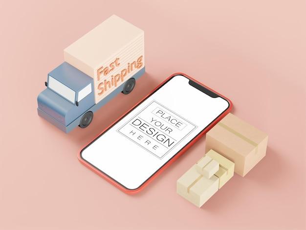 Maquete de telefone inteligente de tela em branco com caminhão de remessa rápida