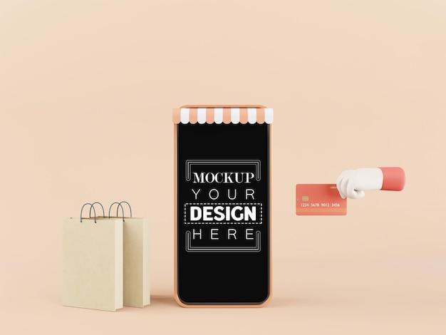 Maquete de telefone inteligente de tela em branco com conceito de compras online