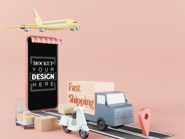 Maquete de telefone inteligente de tela em branco com conceito de entrega