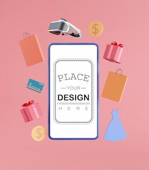Maquete de telefone inteligente de tela em branco com elementos de compras
