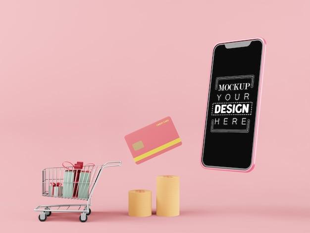 Maquete de telefone inteligente de tela em branco computador com elemento