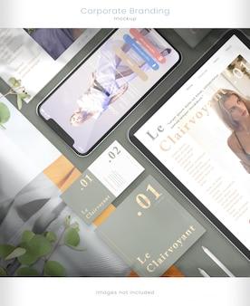 Maquete de telefone, maquete de tablet e marca corporativa com sobreposições de sombra de folha