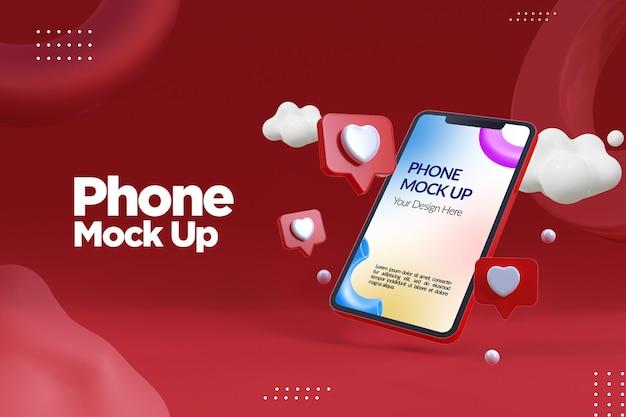 Maquete de telefone minimalista com bate-papo de amor