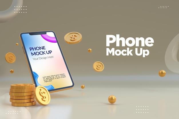 Maquete de telefone minimalista com moeda de dólar de ouro