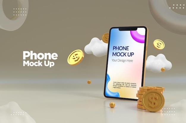 Maquete de telefone minimalista com moeda de dólar de ouro Psd Premium