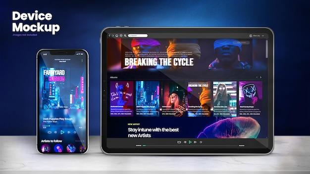 Maquete de telefone moderno e maquete de tablet