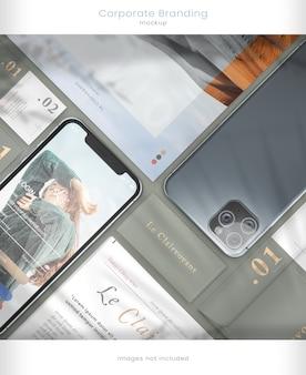 Maquete de telefone moderno e marca corporativa com sobreposições de sombras