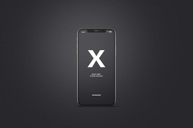 Maquete de telefone móvel cinza ou preto do espaço