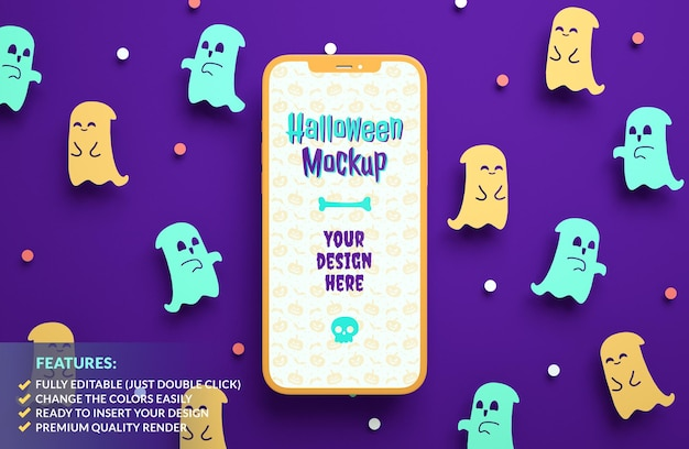 Maquete de telefone móvel de halloween feliz em um fundo de fantasmas de papel fofos em renderização 3d
