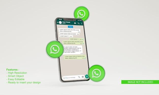 Maquete de telefone móvel do ícone 3d whatsapp