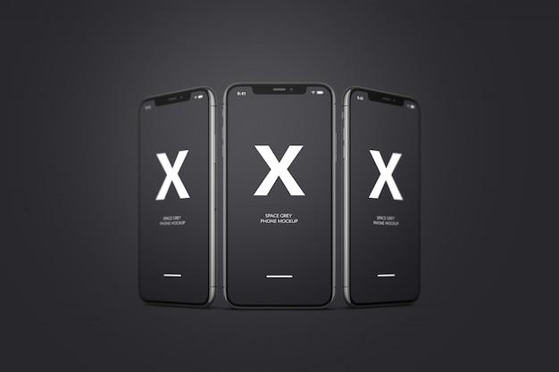 Maquete de telefone móvel espaço cinza