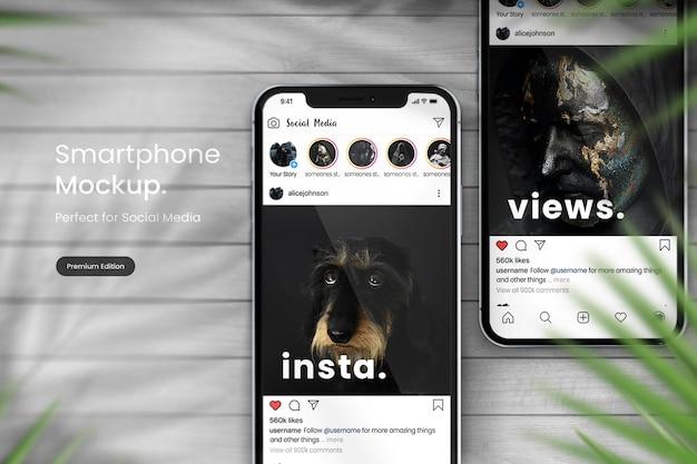 Maquete de telefone para exibir postagens do instagram