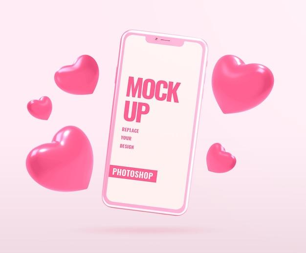 Maquete de telefone para o dia dos namorados com formas de coração